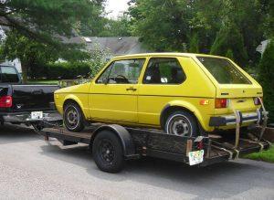 Transporting A Yellow VW Rabbit