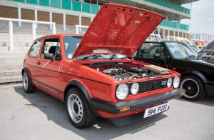 Red VW Golf MK1 With Hood Open